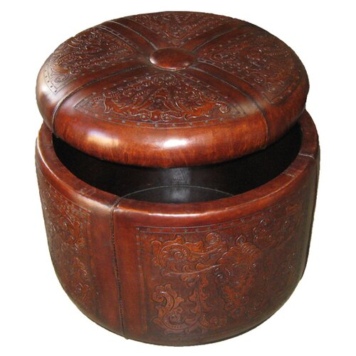 Colonial Bouquet Leather Storage Ottoman