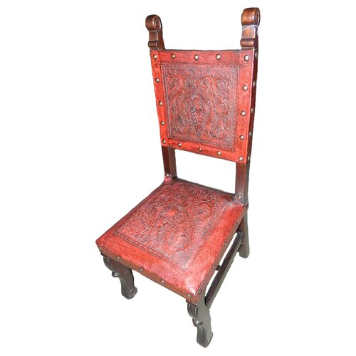 Colonial Spanish Heritage Leather Side Chair (Set of 4)