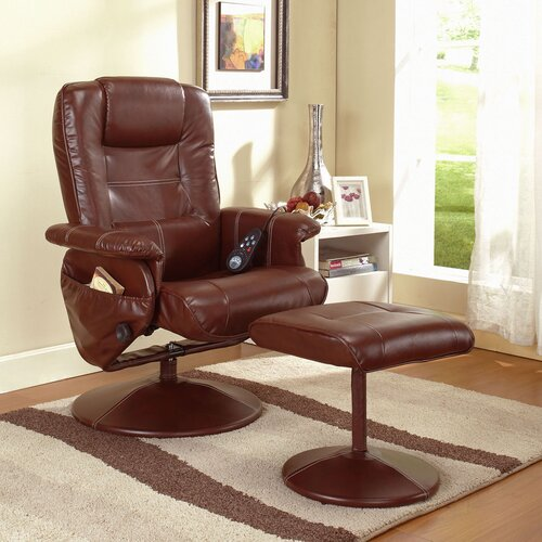 InRoom Designs Reclining Massage Chair with Ottoman