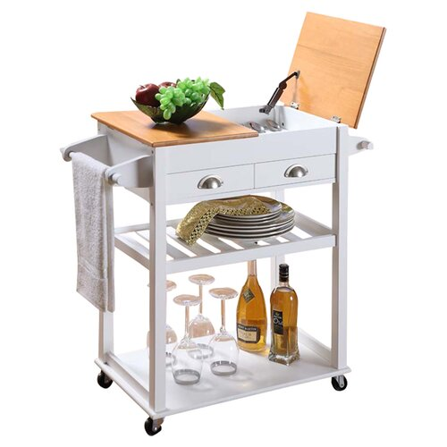 InRoom Designs Kitchen Cart with Wood Top
