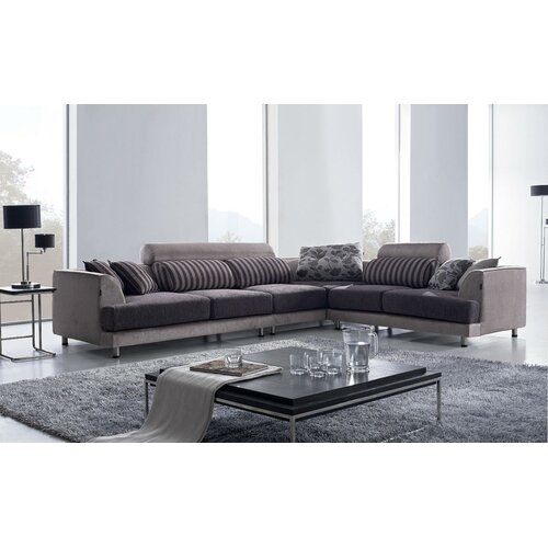 Tosh furniture modern sectional sofa and chair set for Wayfair modern sectional sofa