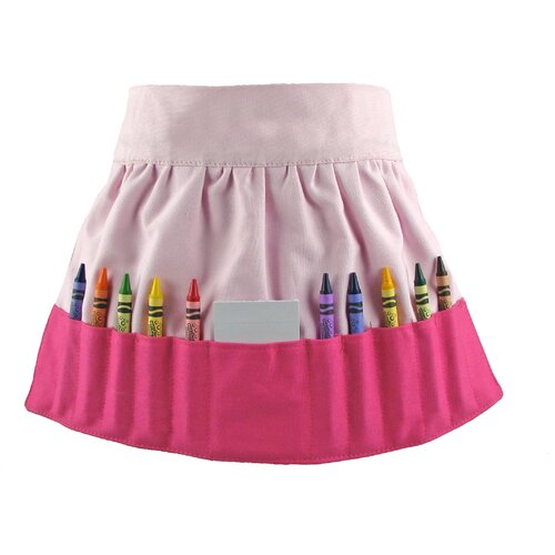 Princess Linens Doodlebugz Crayola Crayon Apron in Hot Pink / Light Pink