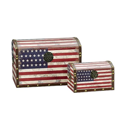 Household Essentials 2 Piece American Flag Design Trunk with Dome Lid (Large & Small)