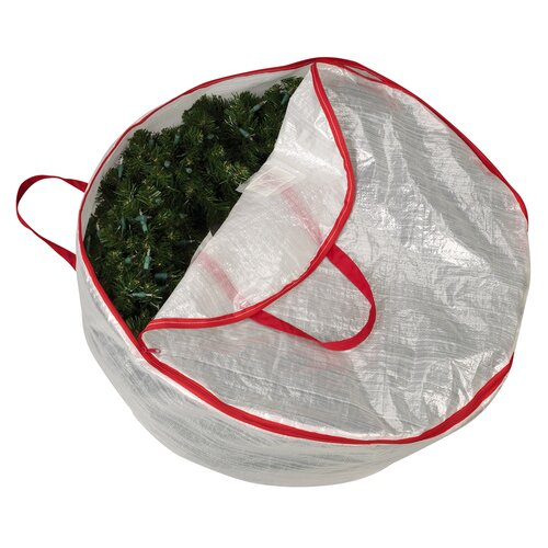 "Household Essentials Storage and Organization 30"" Circular Wreath Bag with Red Trim"