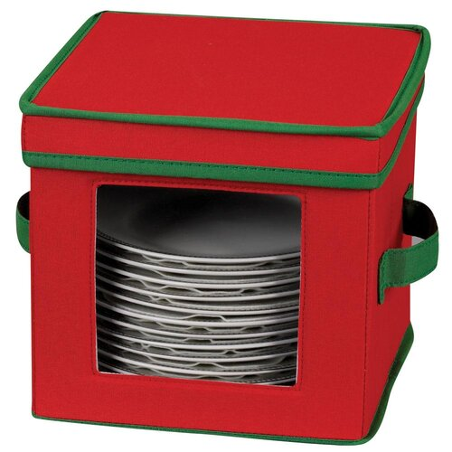 Household Essentials Storage and Organization Holiday Dessert Plate/Bowl Chest with Green Trim in Red