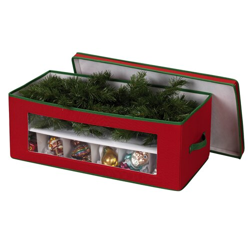 Household Essentials Storage and Organization 36 Piece Holiday Ornament Chest in Red