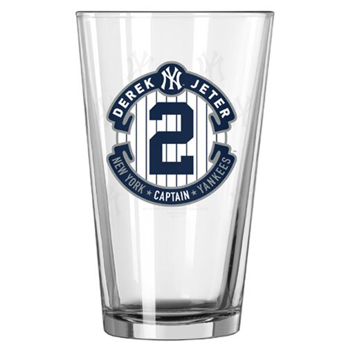 New york yankees derek jeter retirement pint glass wayfair for Yankees bathroom decor
