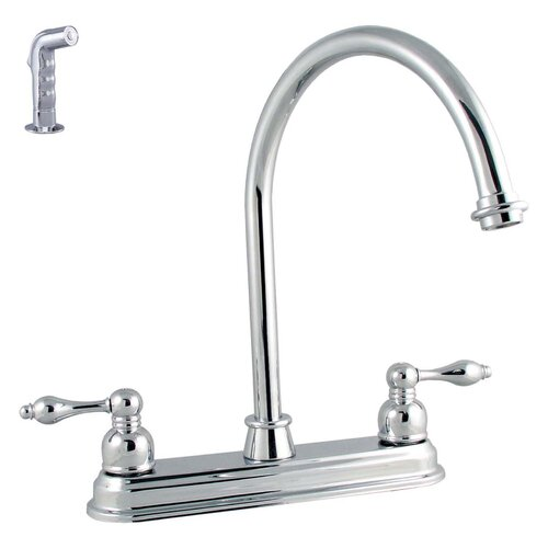 Victorian Lever Double Handle Kitchen Faucet with Spray