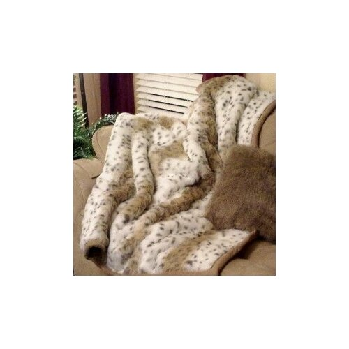 Lynx Jacquard Faux Acrylic Fur Throw Blanket with Faux Suede Trim and Sand Color Short ...