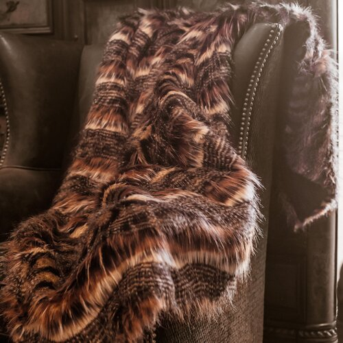 Posh Pelts Red Fox Tail Faux Fur Acrylic Throw Blanket