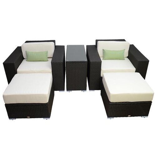 Outsunny 5 Piece Left/Right Arm Sectional Sofa Set with Cushions
