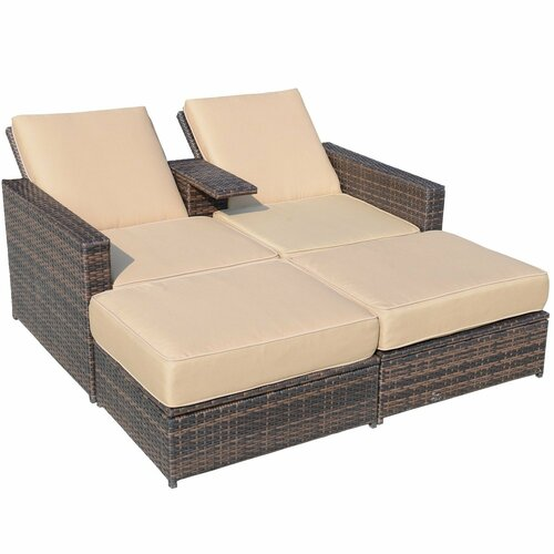 Outsunny 3 Piece Outdoor PE Rattan Wicker Patio Love Seat Lounge Chair Set wi