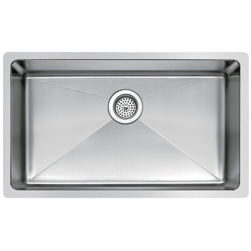 "Water Creation Water Creation SS-U-3018B 30"" X 18"" Single Bowl Stainless Steel Hand Made Undermount Kitchen Sink With Coved Corners"