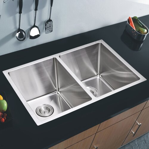 Undermount Double Bowl Kitchen Sink : ... Double Bowl Stainless Steel Hand Made Undermount Kitchen Sink With