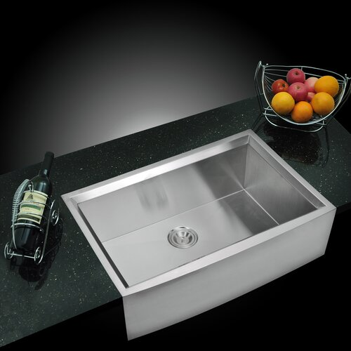 "Water Creation Water Creation SS-U-3321B 33"" X 21"" Zero Radius Single Bowl Stainless Steel Hand Made Apron Front Kitchen Sink With Beveled Walls"