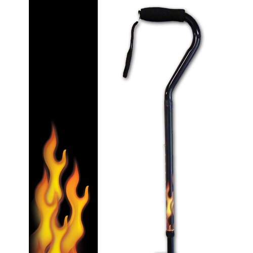 Rebel Canes Flames on Bottom Offset Single Point Cane