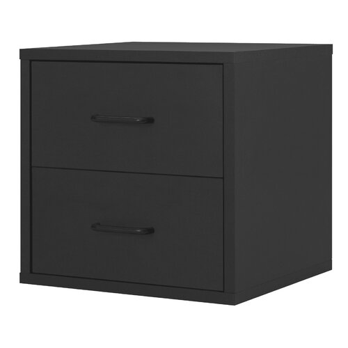 Modular Storage Cube with Two Drawers in Black