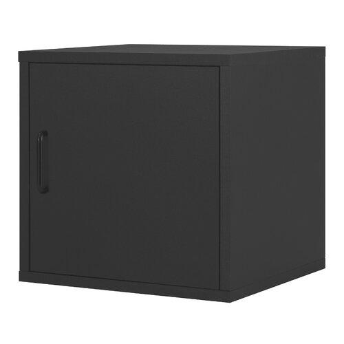 Modular Storage Cube with Door in Black