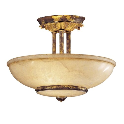 Metropolitan by Minka Vintage 3 Light Semi Flush Mount