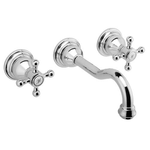 Canterbury Wall Mounted Bathroom Faucet with Double Cross Handles