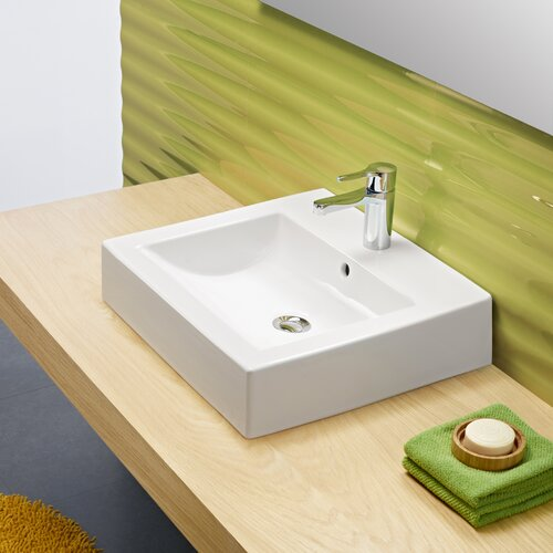 Universal Wave Porcelain Bathroom Sink with Overflow