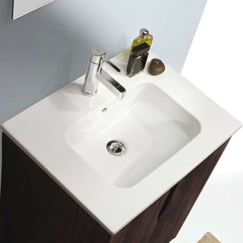 Bissonnet Nava Smile Porcelain Bathroom Sink with Overflow