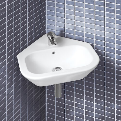 Universal nexus wall mount corner bathroom sink wayfair - Corner sinks for bathroom ...