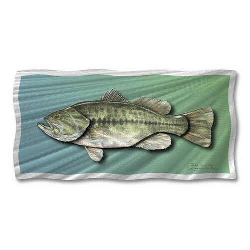 All My Walls 'Largemouth Bass' by Ash Carl Original Painting on Metal Plaque