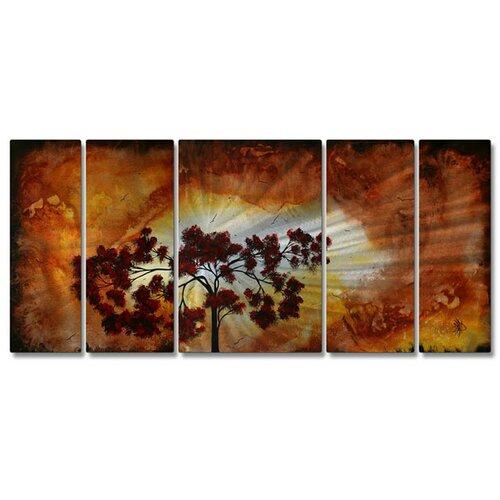 'Sun Tree' by Megan Duncanson 5 Piece Original Painting on Metal Plaque Set
