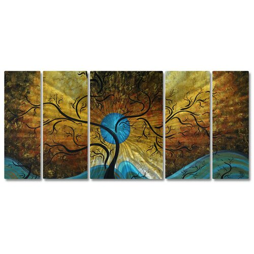 All My Walls 'Moon' by Megan Duncanson 5 Piece Original Painting on Metal Plaque Set