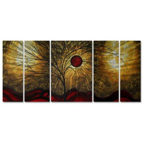 'Waves' by Megan Duncanson 5 Piece Original Painting on Metal Plaque Set