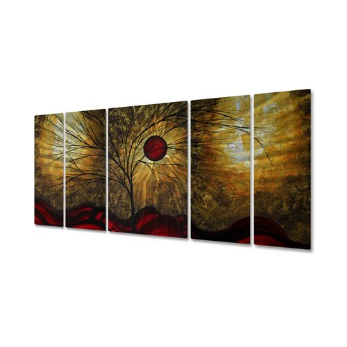 All My Walls 'Waves' by Megan Duncanson 5 Piece Original Painting on Metal Plaque Set