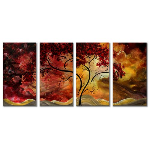'Passionate Light' by Megan Duncanson 4 Piece Original Painting on Metal Plaque Set