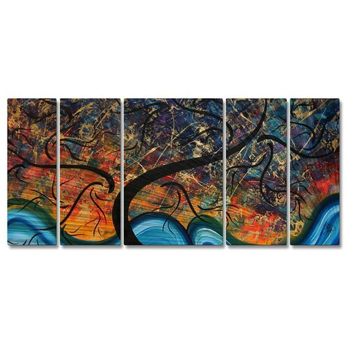 'Brilliant Branches' by Megan Duncanson 5 Piece Original Painting on Metal Plaque Set