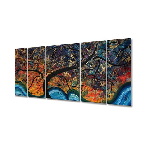 All My Walls 'Brilliant Branches' by Megan Duncanson 5 Piece Original Painting on Metal Plaque Set