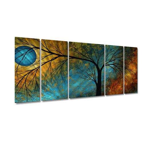 All My Walls 'Beauty In Contrast' by Megan Duncanson 5 Piece Original Painting on Metal Plaque Set