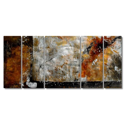 'Bronze Brushed' by Ruth Palmer 5 Piece Original Painting on Metal Plaque Set