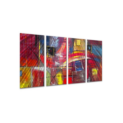 All My Walls 'Color Blocks' by Ruth Palmer 4 Piece Original Painting on Metal Plaque Set