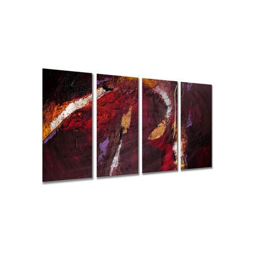 All My Walls 'Low Light' by Ruth Palmer 4 Piece Original Painting on Metal Plaque Set