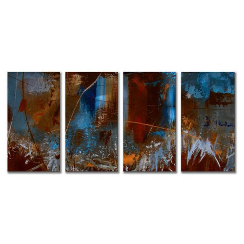 'Urban Feel' by Ruth Palmer 4 Piece Original Painting on Metal Plaque Set