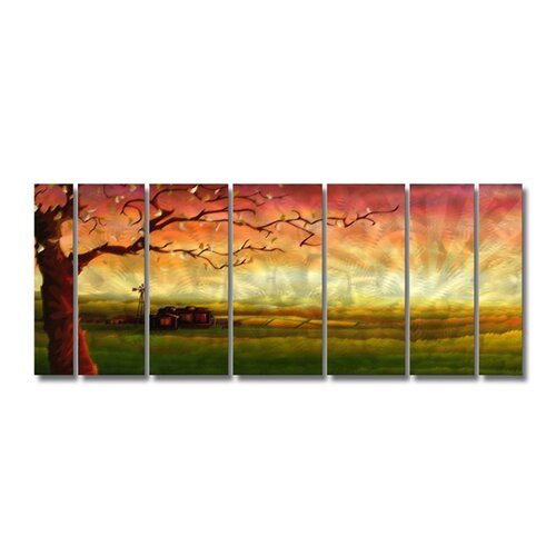 'Tree' by Ash Carl 7 Piece Original Painting on Metal Plaque Set