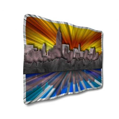 All My Walls 'New York At Sunset' by Ash Carl Original Painting on Metal Plaque