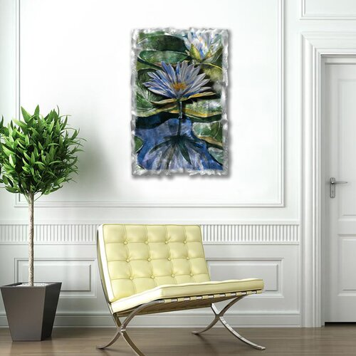 All My Walls 'Water Lilies' by Ash Carl Original Painting on Metal Plaque
