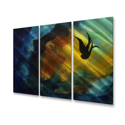 All My Walls 'Fall Breeze' by Megan Duncanson 3 Piece Original Painting on Metal Plaque Set