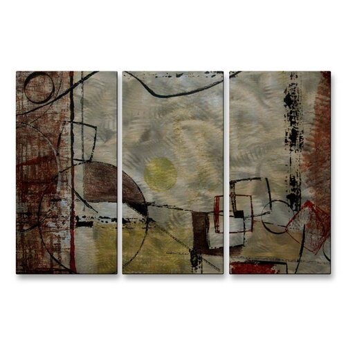 All My Walls 'Angular Momentum' by Ruth Palmer 3 Piece Original Painting on Metal Plaque Set