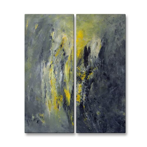 All My Walls 'Eclectic Storm' by Mary Lea Bradley 2 Piece Original Painting on Metal Plaque