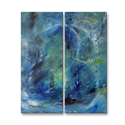 'Squall' by Mary Lea Bradley 2 Piece Original Painting on Metal Plaque