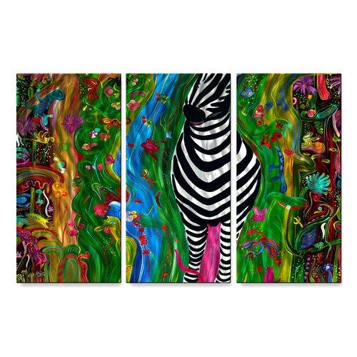 'Zebra' by Jerry Clovis 3 Piece Original Painting on Metal Plaque