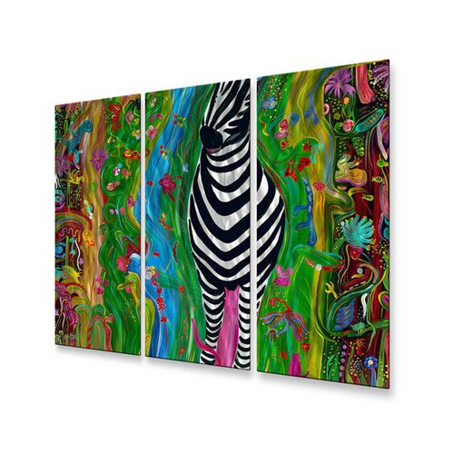 All My Walls 'Zebra' by Jerry Clovis 3 Piece Original Painting on Metal Plaque
