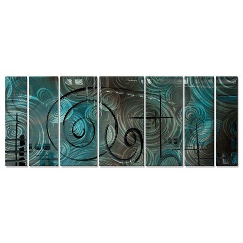 All My Walls 'Aqua Mist' by Megan Duncanso 7 Piece Original Painting on Metal Plaque